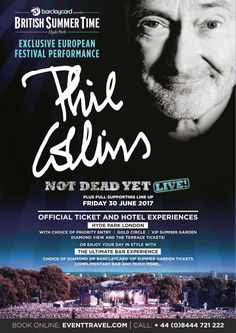 Phil Collins to headline British Summer Time Hyde Park London on Friday 30 June and superb line-up - Check out Phil Collins Tickets and VIP Ticket Experiences including The Ultimate Bar - Now that is cool..