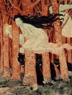 Eugène Grasset, Three Women and Three Wolves