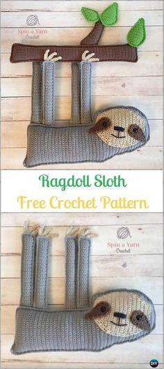 Crochet Amigurumi Ragdoll Sloth Free Pattern-Crochet Sloth Amigurumi Toy Softies Free Patterns #loomknittingpatterns