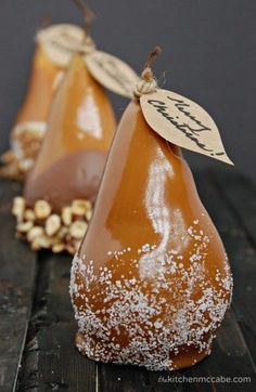 caramel dipped pears #dessert #food #yummy #delicious #art #tasty #foodart #amazing #loveit
