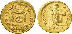 NumisBids: Nomisma Spa Auction 50, Lot 42 : BISANZIO Maurizio Tiberio (582-602) Solido – Busto elmato di fronte...