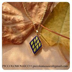 piccolomosaico - lozenge blue and yellow 001 Murano glass micromosaic