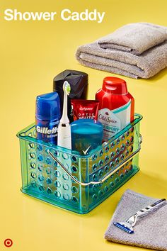 Simplify your shower routine for college with this easy-to-carry Shower Caddy. Load it up with shampoo and conditioner, body wash, shaving gel, a razor and deodorant. Even add your toothbrush, toothpaste and floss. Pop in a towel and you're all set to go.