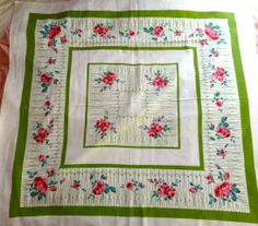 Vintage 1940's Green and Pink Floral Tablecloth