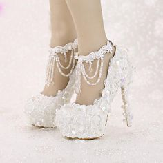 May 2019 - Bling Bridal Shoes High Heel Platform Lace Sequined Vintage Tassel Wedding Shoes Platform Bridal Shoes, Lace Bridal Shoes, Silver Wedding Shoes, Wedding Shoes Bride, Bridal Heels, Bride Shoes, Vintage Wedding Shoes, Converse Wedding Shoes, Wedge Wedding Shoes