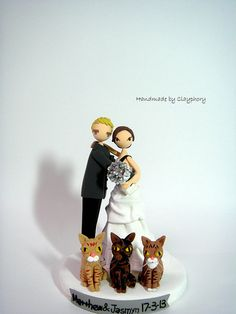 Lovely customized wedding cake topper with cats
