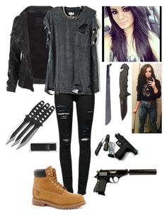 """""""Tegan's Zombie Apocalypse Outfit"""" by amma-and-anna ❤ liked on Polyvore featuring Frame Denim, AllSaints and Timberland"""
