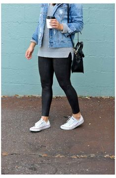 Legging Outfits, Jean Jacket Outfits, Outfit Jeans, Black Leggings Outfit, Leggings Fashion, Outfit Ideas With Leggings, Leggings Outfit Summer Casual, Black Jeans Outfit Fall, Dress Black