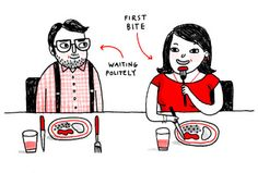 """An awesome illustrated guide to table manners called """"How to Eat Dinner (And You Thought You Knew!)"""". The best tip for remembering which bread plate and glasses are yours: Touch the tip of your index finger to the tip of your thumb, on both hands. Your LEFT hand will form the letter """"b,"""" and your RIGHT hand will form the letter """"d."""" And that's b for bread, d for drink!"""