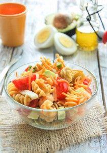 Pasta Salad, Prawns and Avocado