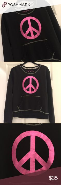 """PINK Victoria's Secret black with pink peace sign Pink peace sign on front with front hand pockets. """"PINK"""" lettering on lower back. Perfect condition. Smoke free home. Super soft material. PINK Victoria's Secret Tops Sweatshirts & Hoodies"""