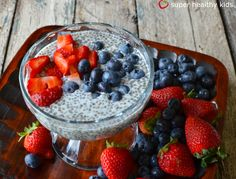 Chia Seed Champion Pudding {Healthy Dessert for Kids} How simple; cup milk, cup chia seeds, 1 T. Healthy Desserts For Kids, Super Healthy Kids, Healthy Treats, Easy Desserts, Dessert Recipes, Dessert Healthy, Real Food Recipes, Cooking Recipes, Yummy Food