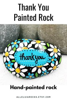"""This hand-painted rock says """"Thank you"""" and is the perfect gift for someone special. #thankyougift #thanks #paintedrock #paintedstones Stone Painting, Diy Painting, Rock Painting, Hand Painted Rocks, Painted Stones, Thank You Teacher Gifts, End Of School Year, Kindness Rocks, Christian Gifts"""