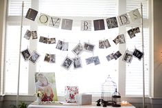 "love this idea at weddings. simple. want to use something like this (or like in T.Swift's music video ""Mine"") my idea: have photos hanging from ribbons, suspended at different heights."