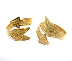Raw Brass Arrow Adjustable Rings 2X J612 by EpochBeads on Etsy, $4.00