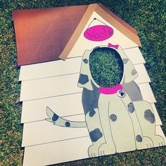 Doghouse photo prop at a Puppy Dogs Birthday Party!  See more party ideas at CatchMyParty.com! #DogParty