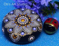 Mandala Stone-WINTER MANDALA Hand Painted
