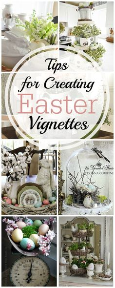 Tips for Creating an Easter Vignette including 18 different examples of spring and easter decorations | awonderfulthought...