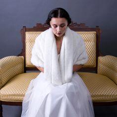 Bernice - faux mink bridal cape. $250.00, via Etsy.