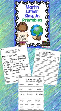 This set of Martin Luther King, Jr. themed activities is meant to supplement your teaching as you introduce MLK, Jr. to your students. There is no special order to follow; simply print and sort through the pages to suit your needs each day. These pages are designed to be a challenging, fun, and meaningful introduction to this fascinating man.