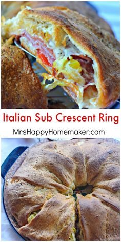 Italian Sub Crescent Ring - so easy & so good! One of our favorite weeknight meals. Crescent Roll Ring Recipes, Pillsbury Crescent Roll Recipes, Pillsbury Recipes, Crescent Rolls, Cresent Roll Appetizers, Pillsbury Dough, Italian Appetizers, Appetizer Recipes, Delicious Appetizers