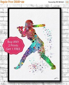 ON SALE 20% OFF Baseball Softball Player Sports Art by ArtsPrint