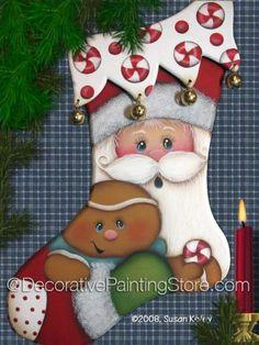 Santa Stocking ePacket - Click Image to Close Santa Crafts, Christmas Wood Crafts, Holiday Crafts, Christmas Decorations, Christmas Makes, Felt Christmas, Christmas Stockings, Christmas Ornaments, Santa Paintings
