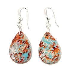 Jay King Spiny Oyster Shell and Turquoise Drop Earrings