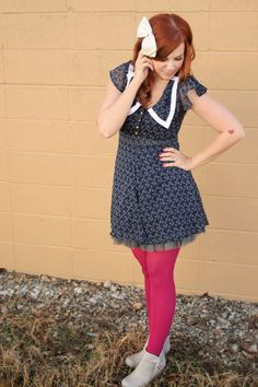 Weekly Wears: Anchors Away Pink Tights, Colored Tights, Patterned Tights, Tights Outfit, Winter Tights, Clothing Blogs, Summer Outfits, Summer Dresses, Tight Leggings