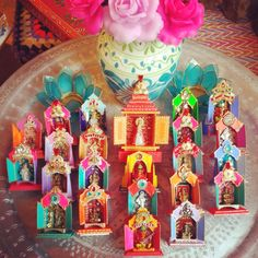 Divine and colorfull Haveli temple artworks for goodluck blessings exclusive for sale at Milagros Mundo, Amsterdam, Netherlands