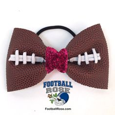 Handmade Football Hair Bow made from real football leather with metallic pink velvet ribbon center Velvet Ribbon, Pink Velvet, Football Hair Bows, Different Font Styles, Elastic Hair Ties, Making Hair Bows, Metallic Pink, Ribbon Colors, How To Make Bows