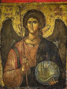 Byzantine Icon with Archangel Michael (early 14th Century) # Byzantine and Christian Museum ,Athens,Greece