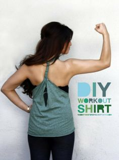 diy work out shirt from old tee shirts