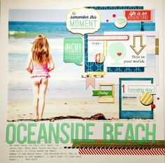 I love how the pic is the background. A Project by from our Scrapbooking Gallery originally submitted at AM Beach Scrapbook Layouts, Digital Scrapbooking Layouts, Travel Scrapbook, Scrapbook Paper Crafts, Scrapbook Cards, Oceanside Beach, Travel Album, Big Photo, Photo Layouts