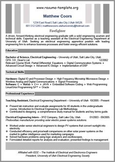 Firefighter Resume Example | Resume examples, Resume and Firefighters
