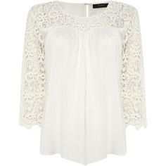 Vila Lace Sleeve Pleated Front Top ($47) ❤ liked on Polyvore featuring tops, blouses, white, women, long sleeve lace blouse, white embroidered blouse, round collar blouse, white loose blouse and white embroidered top