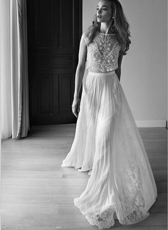 Sweetheart Sleeveless Low Back Pearls Beading Sequins Lace Chiffon Beach Two Pieces Boho Bohemian Wedding Prom Homecoming Dress Gowns