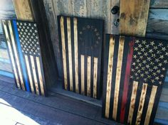 Burnt wood American Flags Blue Line Defender, The Patriot, and Red Line Defender Check out Patriot Flagworks on Facebook!