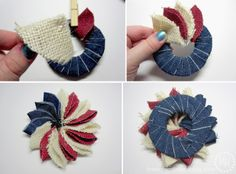 The Scrap Shoppe: Mini Patriotic Wreath Pin Patriotic Wreath, Patriotic Crafts, July Crafts, Summer Crafts, Holiday Crafts, Crafts For Kids, Patriotic Flags, Fourth Of July Decor, 4th Of July Decorations