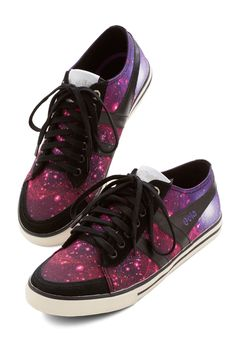 Get Into Orbit Sneaker. Youre so cutting-edge in these cosmic-print sneakers from Gola, even the boundaries of space cant contain your flair! #purple #modcloth