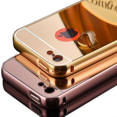 For Apple iPhone 5 C New Mirror Aluminum Case Luxury Metal Frame Ultra Slim Acrylic Back Cover Case For iPhone 5C
