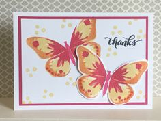 Watercolour Wings stamp set in Melon Mambo, Tangerine Tango and So Saffron - created by Julia Jordan of papercraftelegance.blogspot.com