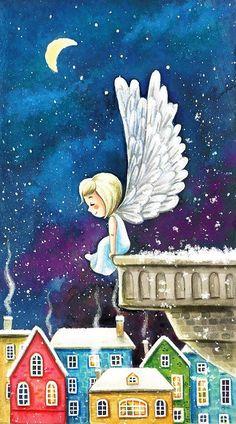 A Snow Angel - Olya Badulina Christmas Scenes, Christmas Angels, Christmas Art, Angel Illustration, Cute Illustration, Christmas Drawing, Christmas Paintings, Flower Art Images, Snow Angels