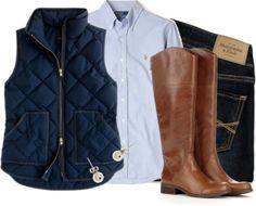 Riding boots, navy vest, blue oxford, and dark denim