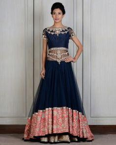 Blue Embroidered Lengha by Manish Malhotra 2014. $5750.