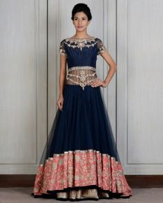 Blue Embroidered Lengha by Manish Malhotra 2014. $5750.