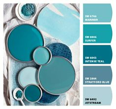 Palette growing on me.Teal Blue Paint Colors (from top: Moroccan Blue by True Value, New World by Dutchboy, Teal Zeal by Olympic, Tidewater by Sherwin-Williams, and Gypsy Teal by Valspar) Blue Paint Colors, Wall Colors, House Colors, Color Blue, Turquoise Color, Room Colors, Vintage Paint Colors, Bedroom Paint Colors, Accent Colors