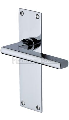 Heritage Br Trident Low Profile Door Handles On Backplates Polished Chrome Tri1300 Pc Sold In Pairs None