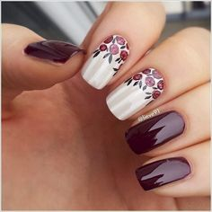 Spring and Summer nail designs come in in different styles this year, here you can find variety of colors and original nail art designs. We have selected some of the most beautiful nautical spring and summer nail art inspired by the. Plum Nails, Burgundy Nails, Shellac Nails, Fancy Nails, Trendy Nails, Nail Polish, Gel Nail, Dark Nails, Burgundy Colour