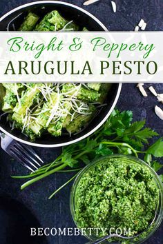 My arugula pesto recipe is bright, peppery, low carb, and gluten free. A bright and peppery spin on a classic pesto recipe. Easy Pasta Recipes, Vegetarian Recipes Easy, Appetizer Recipes, Healthy Recipes, Healthy Food, Dinner Recipes, Arugula Pesto Recipe, Arugula Recipes, Salad Recipes